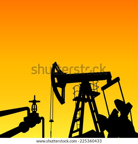 Oil pump energy industrial machine for petroleum in the sunset background. Vector illustration. - stock vector