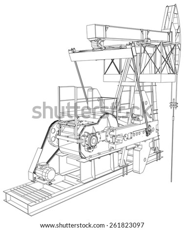 Oil pump jack. Detailed vector illustration isolated on white background. Vector rendering of 3d - stock vector