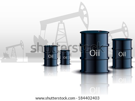 Oil pump oil rig energy industrial machine and barrels of oil  - stock vector