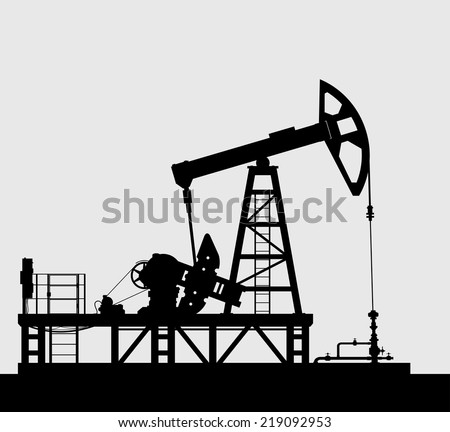 Oil pump silhouette isolated over grey background. Detailed vector illustration. - stock vector
