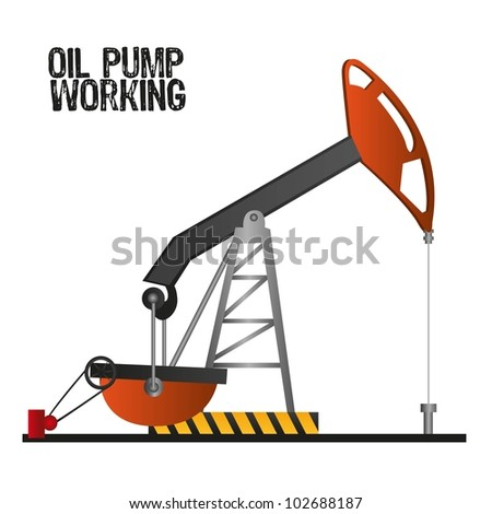 oil pump working,  isolate on white background, vector illustration - stock vector