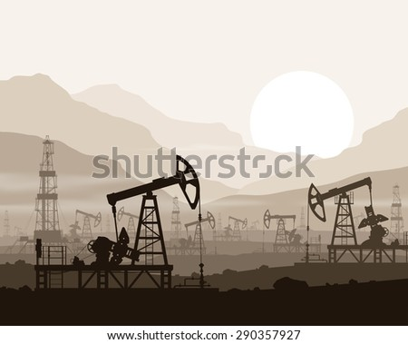 Oil pumps and rigs at large oilfield over  sunset in huge mountains. Detail vector illustration.  - stock vector