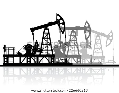 Oil pumps silhouette isolated on white background. Detailed vector illustration.  - stock vector