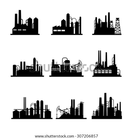Oil refinery and oil processing plant icons. Industrial factory, technology power, vector illustration - stock vector