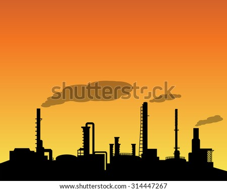 Oil refinery industry silhouette in daytime landscape style - stock vector