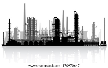 Oil refinery or chemical plant silhouette. Vector illustration.  - stock vector