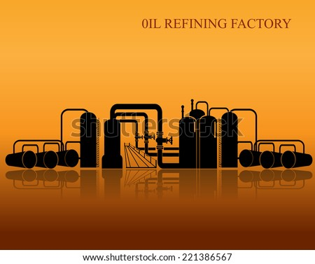Oil refinery silhouette. Vector illustration. - stock vector