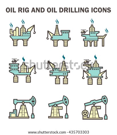 Oil rig and oil drilling vector icon sets. - stock vector