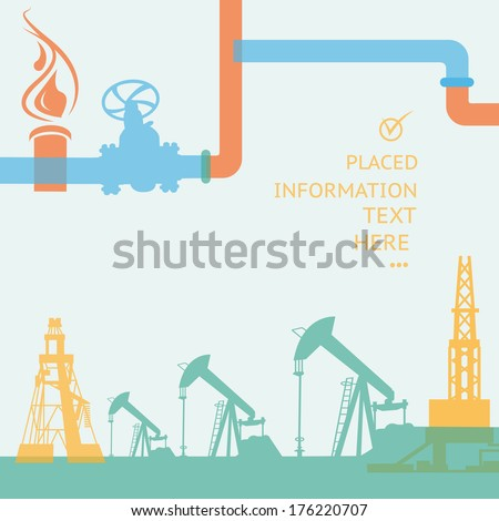Oil rig and pump in flat colors. Vector illustration. - stock vector
