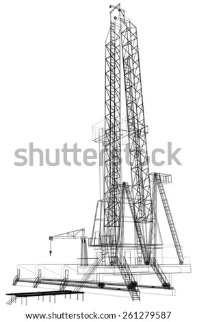 Oil rig. Detailed vector illustration isolated on white background. Vector rendering of 3d - stock vector