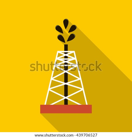 Oil rig icon, flat style - stock vector