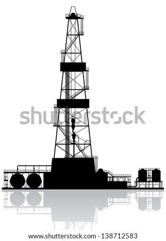 Oil rig silhouette. Detailed vector illustration isolated on white background. - stock vector