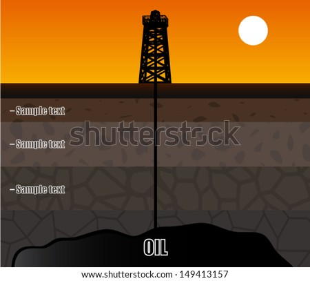 oil rig with soil layers / vector illustration - stock vector