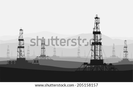 Oil rigs at large oilfield over mountain range. Detailed vector illustration.   - stock vector