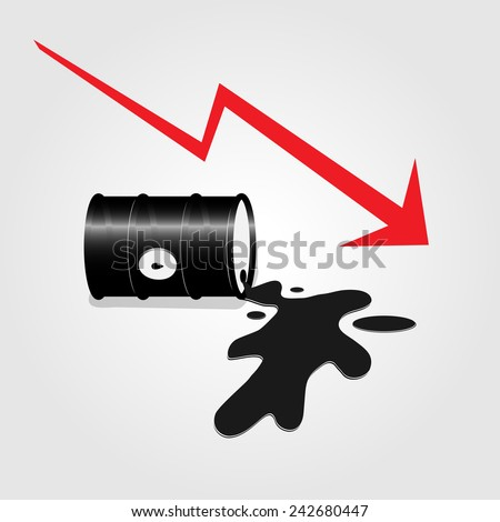 Oil spill with red arrow vector illustration - stock vector