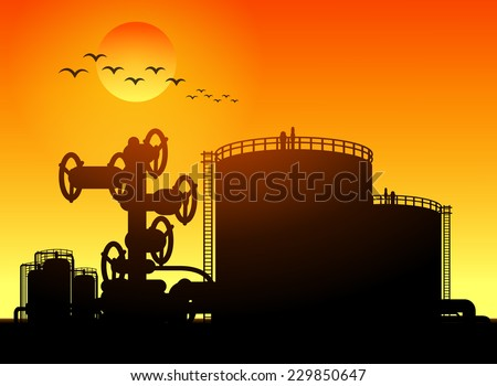 oil tank storage in oil refinery petrochemical industry estate - stock vector