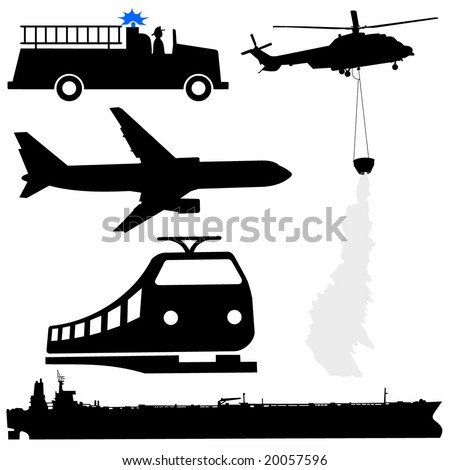 oil tanker fire engine helicopter plane and train silhouettes - stock vector