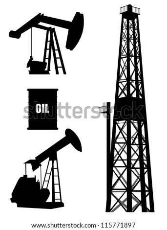 Oil well silhouette set - stock vector