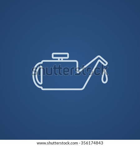 Oiler line icon for web, mobile and infographics. Vector light blue icon isolated on blue background. - stock vector