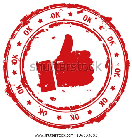 Ok hand rubber stamp. - stock vector