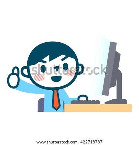 OK pose of businessman and a personal computer - stock vector