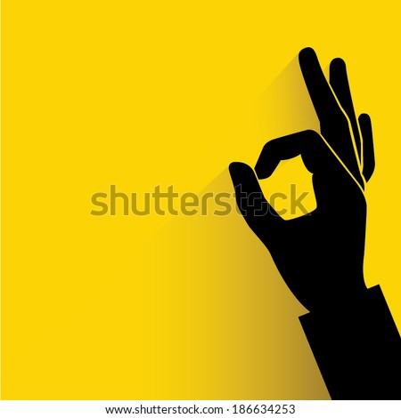 okay hand sign yellow background - stock vector