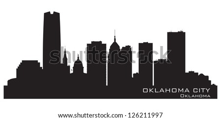 Oklahoma City skyline. Detailed silhouette. Vector illustration - stock vector