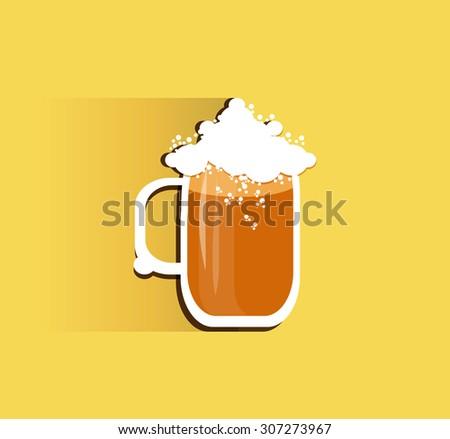 Oktoberfest beer mug with long shadow.Vector illustration. - stock vector