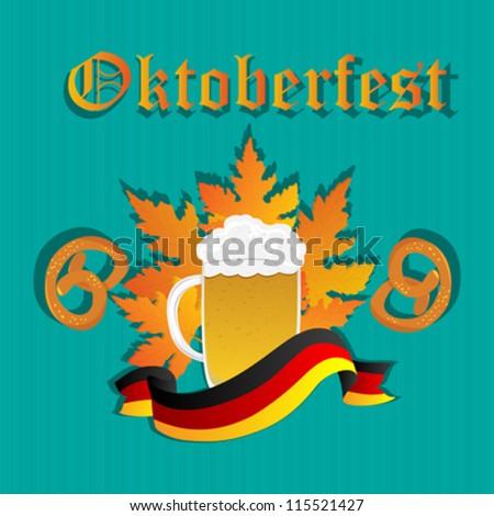 Oktoberfest design pattern with beer mug, pretzels and Germany flag. - stock vector