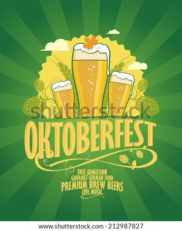 Oktoberfest design with beer and hope on a retro style green rays background. - stock vector