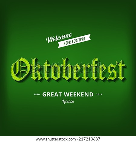 Oktoberfest festival typography vintage retro Gothic style vector design poster template. Creative 3d typo font Octoberfest typographic menu banner long shadow - stock vector