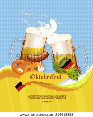 Oktoberfest greeting card. Poster with mug of beer, hops, pretzels, sausages, beer foam, flag of Germany on background of blue rhombuses. Vector illustration. - stock vector