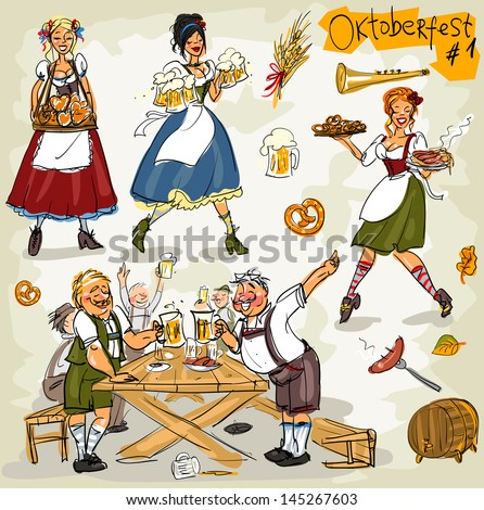 Oktoberfest - hand drawn clip art collection  - part 1. Sketch, isolated - stock vector