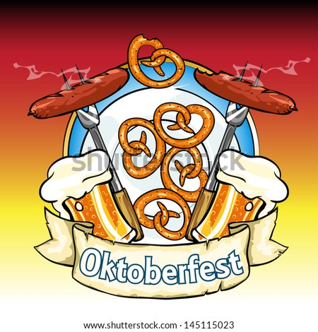 Oktoberfest label with beer, pretzels and sausages. Isolated - stock vector
