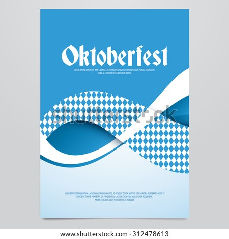 Oktoberfest vector flyer, poster, brochure, magazine cover template. Modern blue wave background. - stock vector