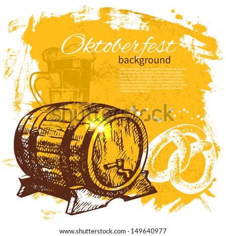 Oktoberfest vintage background. Hand drawn illustration. Beer splash blob retro design menu - stock vector