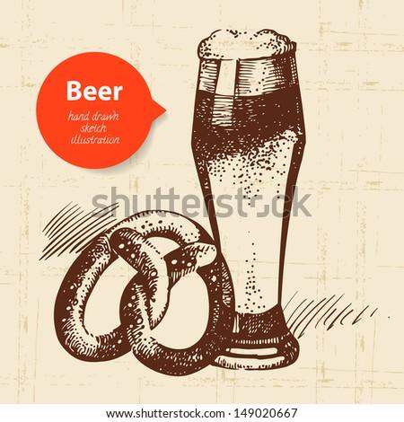 Oktoberfest vintage background. Hand drawn illustration. Retro design with beer - stock vector