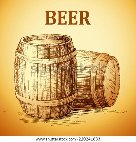 Oktoberfest vintage barrel. Beer hand drawn illustration. - stock vector