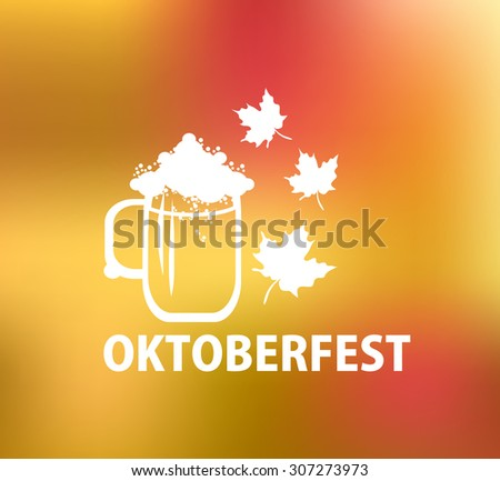 Oktoberfest white logo with beer mug and autumn leaves.Vector illustration. - stock vector