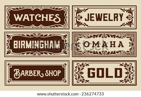 Old advertisement banners - Vintage illustration - stock vector