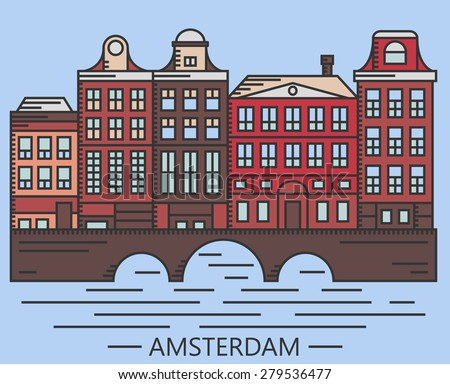 Old Amsterdam Holland houses on bridge set vector line drawn illustration isolated on blue background - stock vector