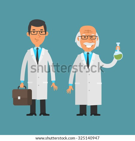 Old and young scientist standing and smiling - stock vector