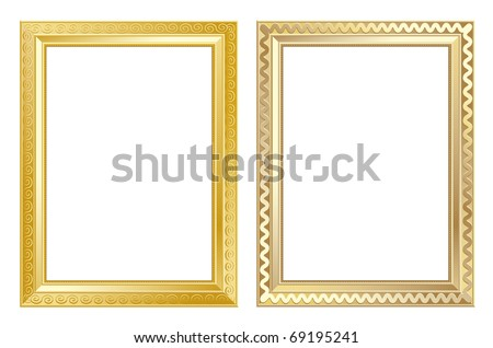 old antique gold frame over white background - stock vector
