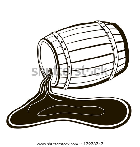 Old Barrel and a wine pool. A children's sketch - stock vector
