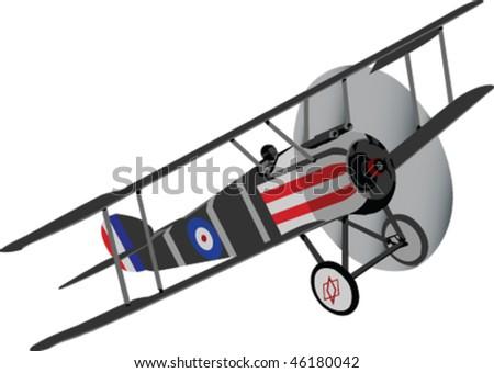 old biplane silhouett - vector - stock vector