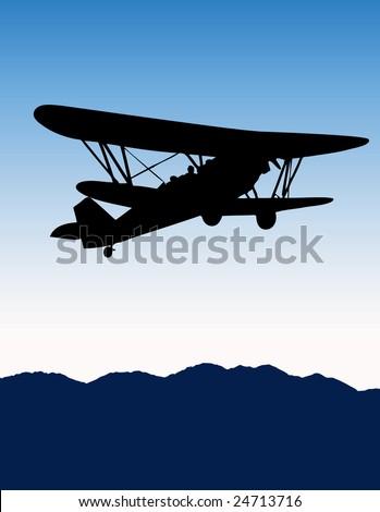 Old biplane Vector - stock vector