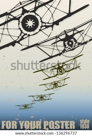 Old biplanes flying in the clouds, retro aviation background. Vector poster - stock vector