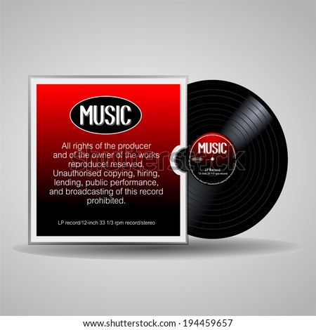 Old, black and red musical record, LP, with cover. eps10 vector art image illustration. isolated on white background. Vinyl long play record in a paper case, retro design with text note and detail.  - stock vector