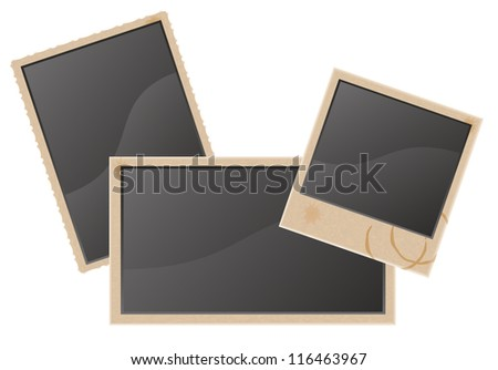 old blank photo vector illustration isolated on white background - stock vector