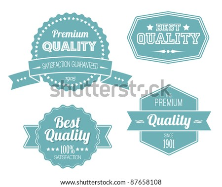 Old blue retro vintage labels - premium quality - stock vector